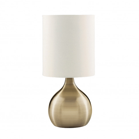 Searchlight Touch Table Lamp, Antique Brass/White