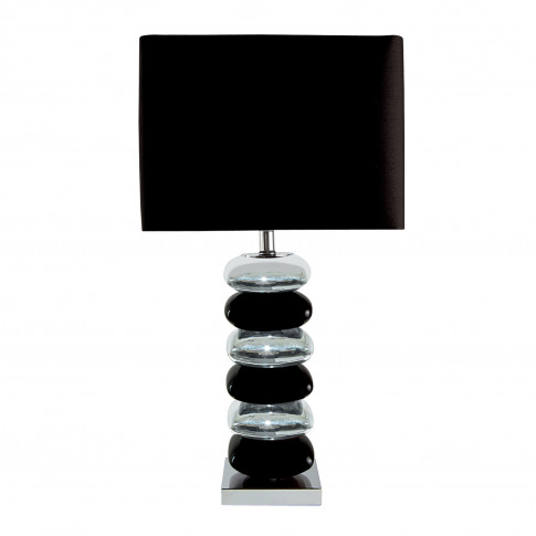 Searchlight Bravo Table Lamp, Black/Chrome