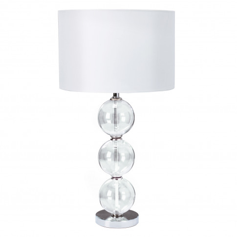 Searchlight Chrome Table Lamp, Clear/White