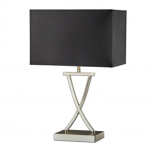 Searchlight Club Table Lamp, Satin Silver/Black