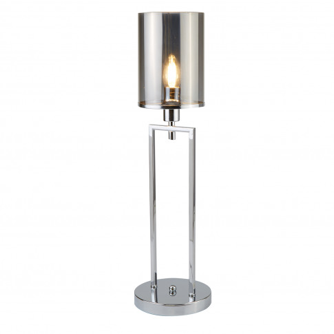 Searchlight Catalina Table Lamp, Chrome/Smoked Glass
