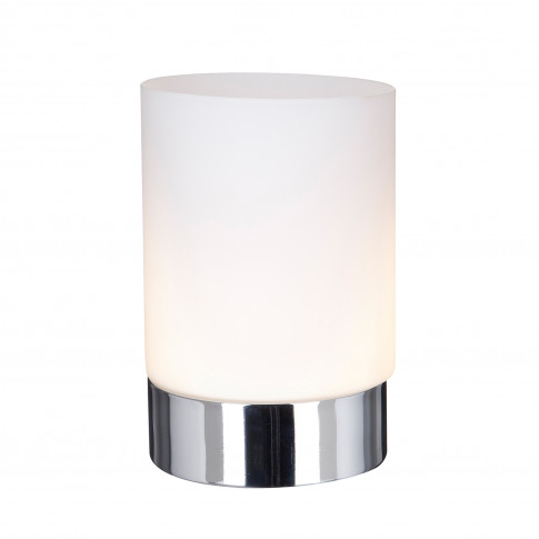 Searchlight Touch Table Lamp, Chrome/Opal White