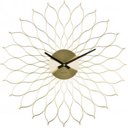 Acctim Helios Metal Wall Clock, Brass