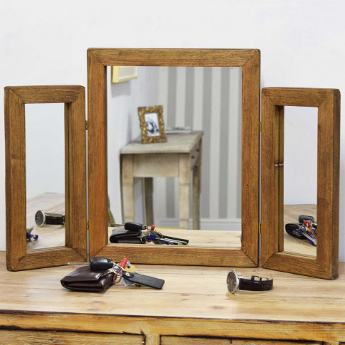Mirror Outlet Farmhouse Wood Mirror, Dark Natural Wood