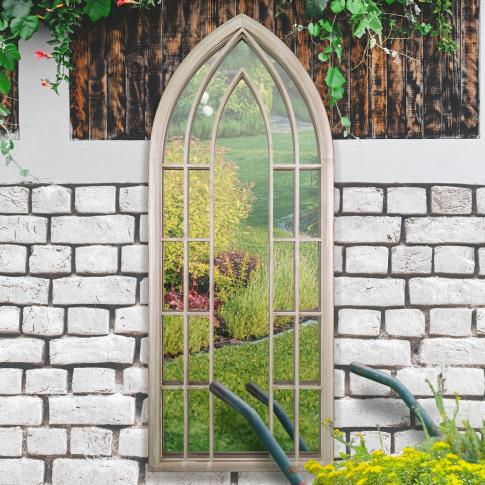Mirror Outlet Gothic Arch Garden Mirror, Natural