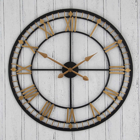 Pacific Lifestyle Antique Metal Round Wall Clock, Br...