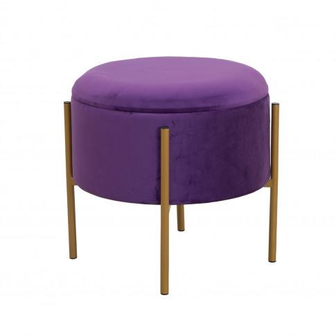 Casa Round Velvet Storage Stool, Purple