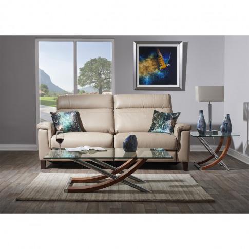 Casa Hugo 3 Seater Power Recliner Leather Sofa, Nougat