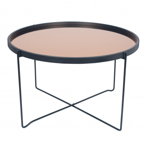 Casa Wood & Iron Round Coffee Table, Black & Copper
