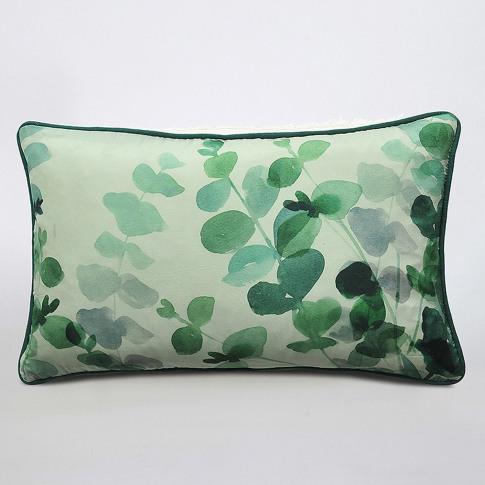 M.M Linen Euca Silk Cushion, 50cm X 30cm, Green