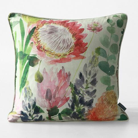 M.M Linen Protea Silk Cushion, 45cm X 45cm, Green