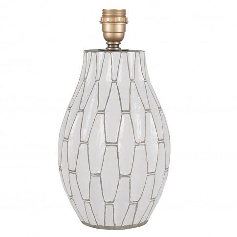 Casa Geometric Stoneware Lamp Base, White