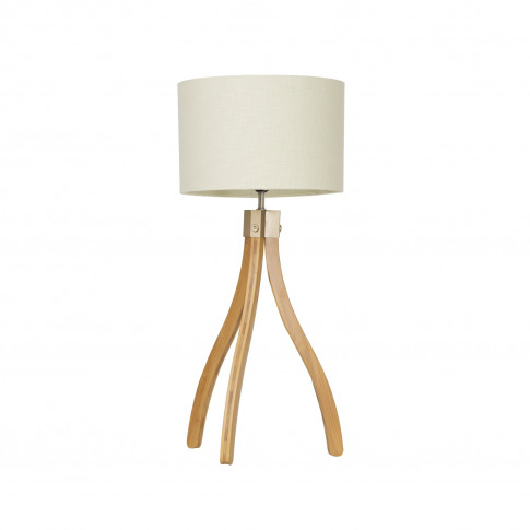 Casa Curved Tripod Table Lamp, Natural Wood