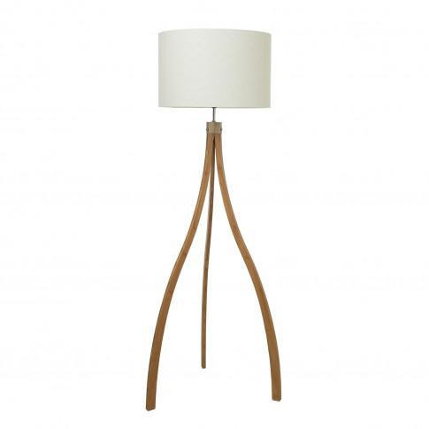 Casa Curved Tripod Floor Lamp, Natural Wood