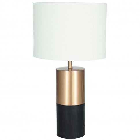 Pacific Table Lamp With Handloom Shade, Wood/Metal