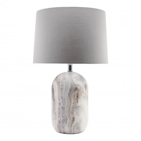 Casa Marble Effect Table Lamp, Cream
