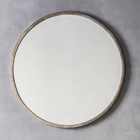 Gallery Higgins Round Mirror, Antique Silver