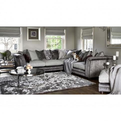 Casa Sophia 3 Corner 3 Pillow Back Fabric Sofa, Dapple Mink