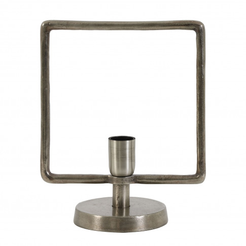 Light & Living Square Frame Table Lamp, Antique Tin