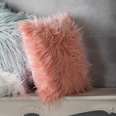 Gallery Mongolian Faux Cushion 45 X 45cm, Blush
