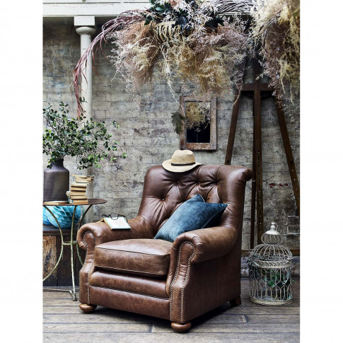 Alexander & James Fable Leather Armchair, Jin Brown