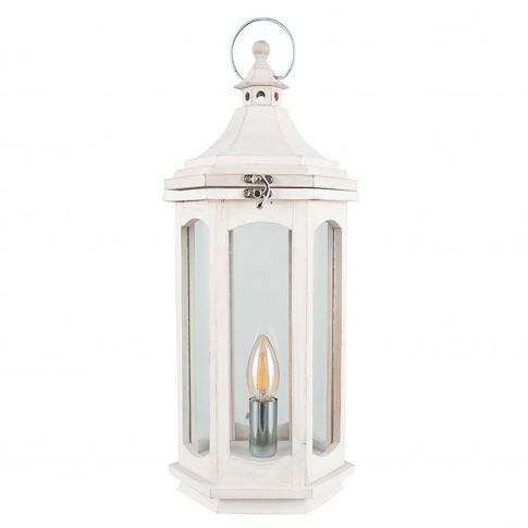 Pacific Lifestyle Wood Lantern Table Lamp, White