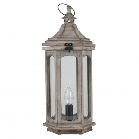 Pacific Lifestyle  Wood Lantern Table Lamp, Grey