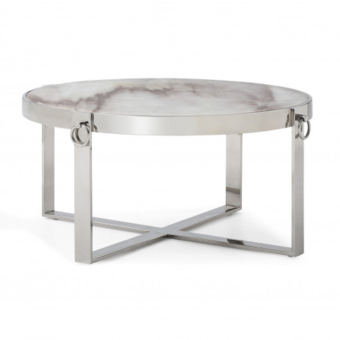 Casa Rings Marble Coffee Table, Polished Stainless S...