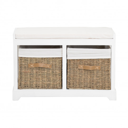 Casa Bench With Drawers, White