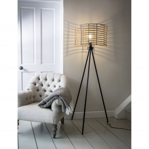 Garden Trading Hampstead Bamboo Floor Lamp, Powder C...