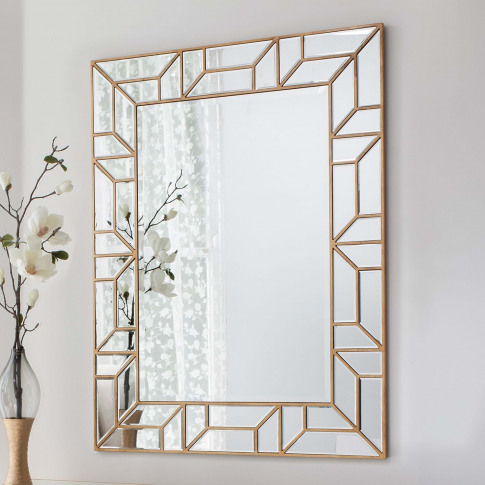 Gallery Verbier Rectangular Mirror, Gold