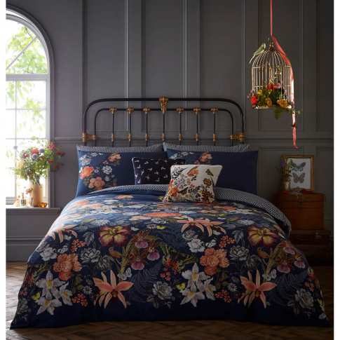 Oasis Botanical Duvet Set, King, Navy