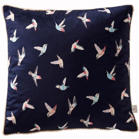 Oasis Botanical Hummingbird Cushion, 43 X 43cm, Navy
