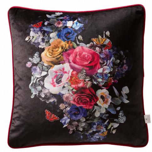 Oasis Florianna Cushion, 43 X 43 Cm, Black Floral