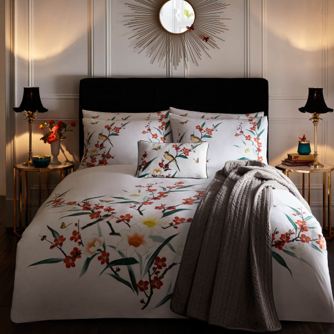 Oasis Osaka Duvet Set, Single, White Floral
