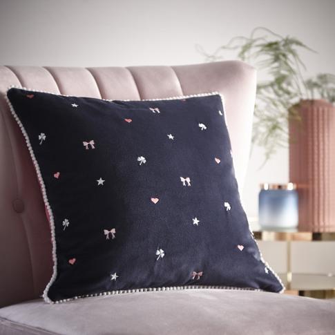 Oasis Kissing Hearts Cushion, 43 X 43cm, Navy