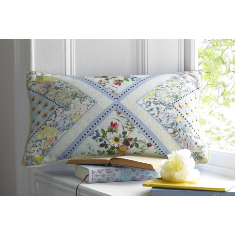 Oasis Patchwork Boudoir Cushion, 50 X 30cm, Seafoam