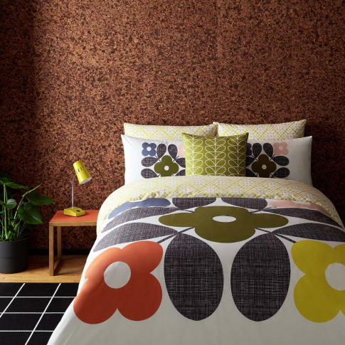 Orla Kiely Placement Flower Tile Duvet Cover, Super King, White