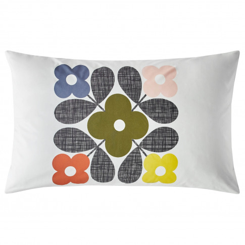 Orla Kiely Placement Flower Tile Pillowcase Pair, White