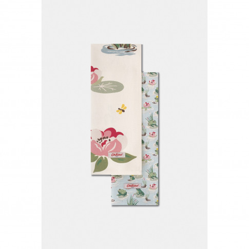 Cath Kidston Frogs Tea Towels, Set Of Two, Green/Cream