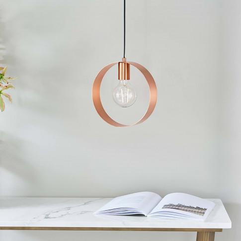 Endon Circular Pendant Light, Copper