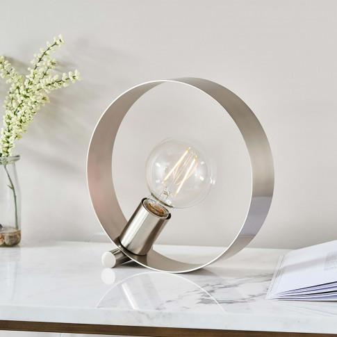 Endon Circular Table Lamp, Nickel