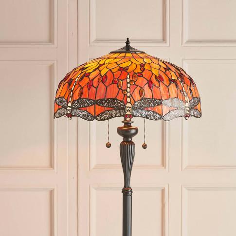 Endon Tiffany Dragonfly Floor Lamp, Orange