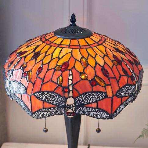 Endon Tiffany Dragonfly Table Lamp, Orange