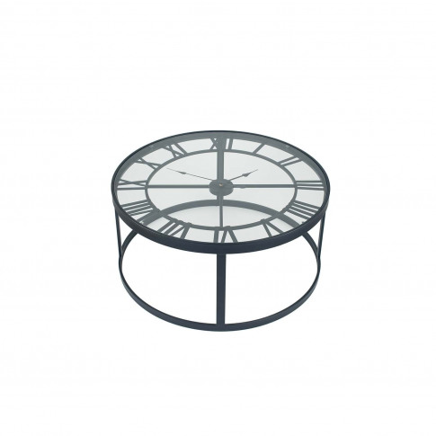 Pacific Lifestyle Metal Round Clock Table, Black