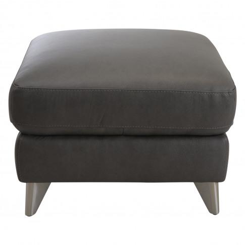 Casa Maya Leather Footstool, Rangers Charcoal