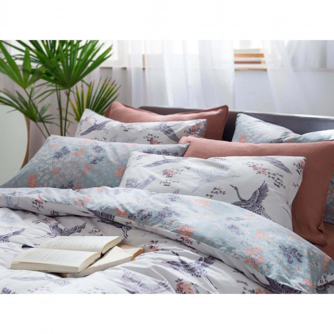 Fat Face Floral Flight Pillowcase Pair, Iris
