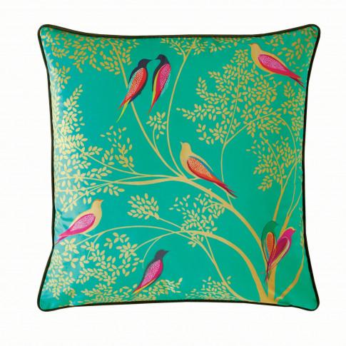 Sara Miller Green Birds Cushion 50 X 50cm, Green