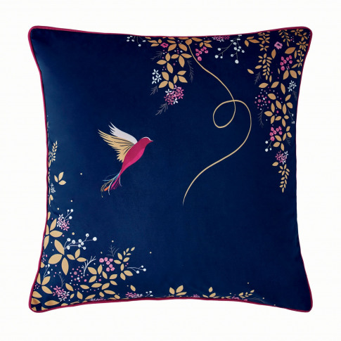 Sara Miller Hummingbird Cushion 50 X 50cm, Navy