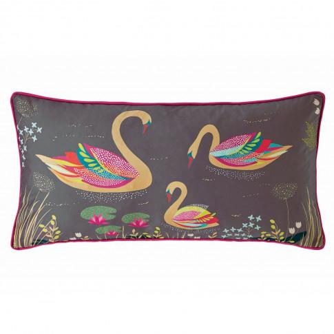 Sara Miller Swan Cushion 30 X 60cm, Dark Grey